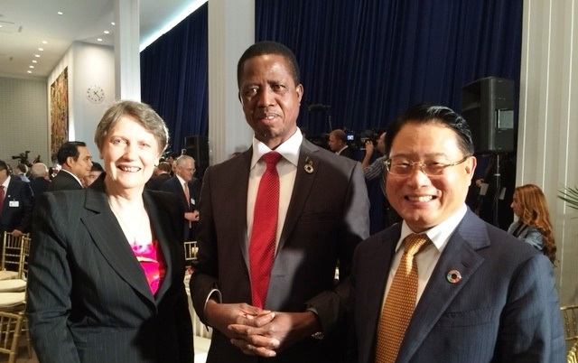 2016- DG at stage luncheon with President of the Republic of Zambia and UNDP's Helen Clark